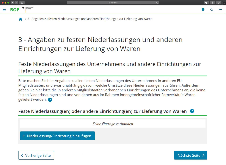 Screenshot: Niederlassungen und andere Einrichtungen zur Lieferung