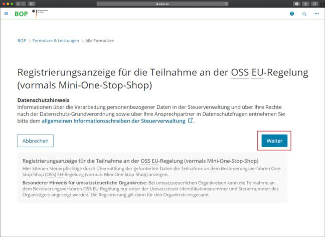 OSS Anleitung Registrierung Schritt 7